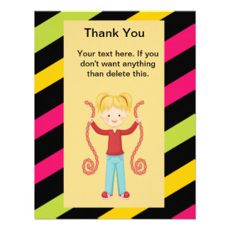 Cute Striped Arcade Birthday Girl Thank You Personalized Invitation