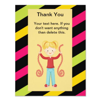Cute, Striped, Arcade Birthday Girl Thank You Personalized Invitation