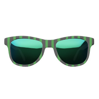 Cute Striped Pattern in Black and Kelly Green Sunglasses