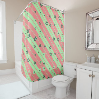 Cute striped Stars for Girls Shower Curtain