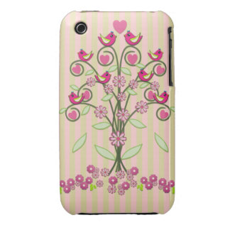 Cute stripes & swirling tree with Love birds iPhone 3 Cover