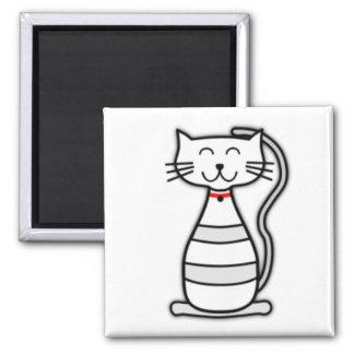 Cute Stripey White Cat Magnets