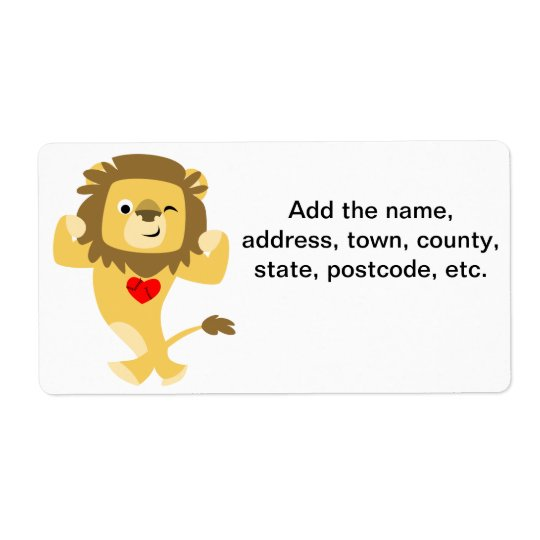 Cute Strong Cartoon Lion Heart Shipping Label