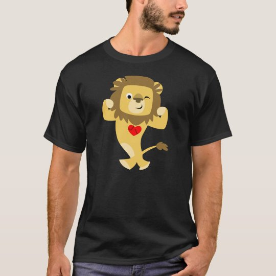 Cute Strong Cartoon Lion Heart T-Shirt