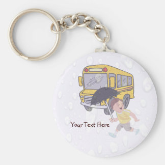 Cute Student Running To Catch School Bus Basic Round Button Key Ring