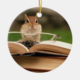 Cute Studious Chipmunk Christmas Ornament
