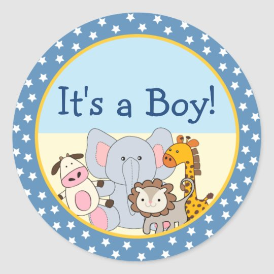 Cute Stuffed Animals It's a Boy Round Stickers