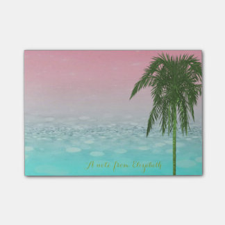 Cute Stylish BokehTropical, Palm Tree,Personalized Post-it® Notes
