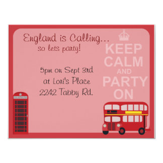 Cute Stylish London Party 11 Cm X 14 Cm Invitation Card