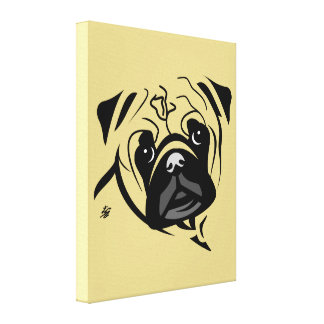 Cute Stylized Pug Canvas Art