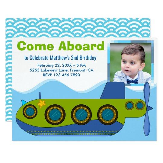 Cute Submarine Boy Photo Birthday Party Invitation