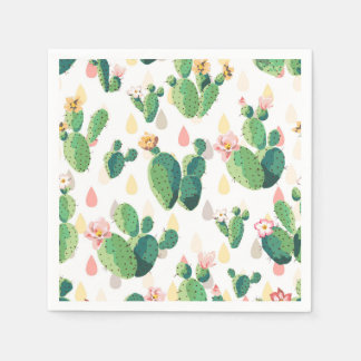 Cute Succulent Cactus Cocktail Paper Napkins