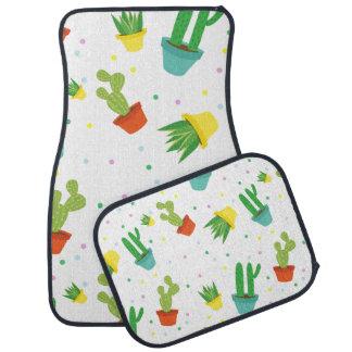 Cute succulent cactus polka dots pattern car mat