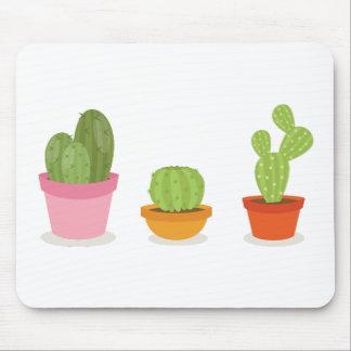 Cute succulent cactus trio mouse pad