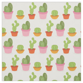 Cute succulent cactus trio pattern fabric