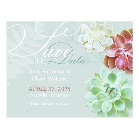 Cute Succulent Cactus Wedding Save the Date Postcard
