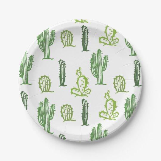 Cute Succulent Lovely Green Cactus Paper Plates Zazzle Co Uk