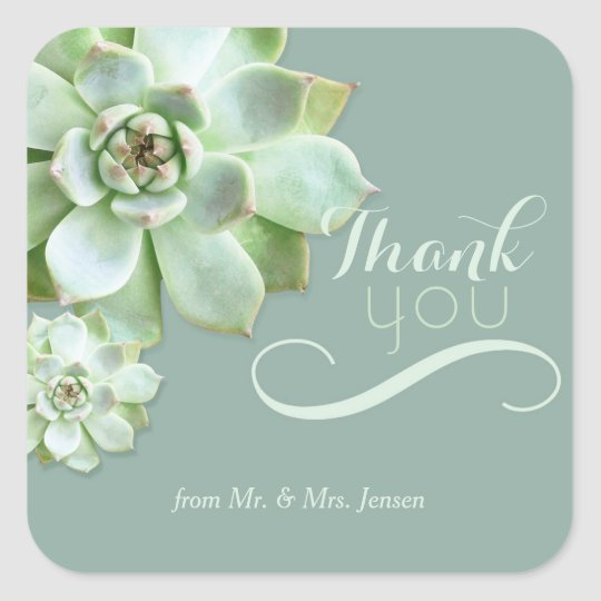 Cute Succulents Cactus Wedding Thank You Square Sticker