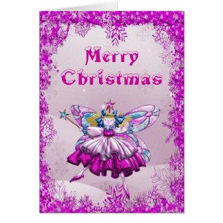 Cute Sugar Plum Fairy Sequins Christmas Card