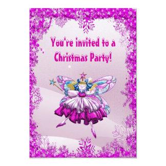 Cute Sugar Plum Fairy & Sequins Christmas Party Card