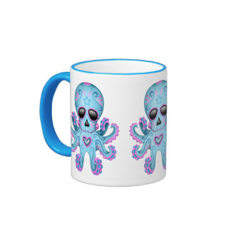Cute Sugar Skull Zombie Octopus - Blue Coffee Mug