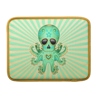 Cute Sugar Skull Zombie Octopus - Green MacBook Sleeves