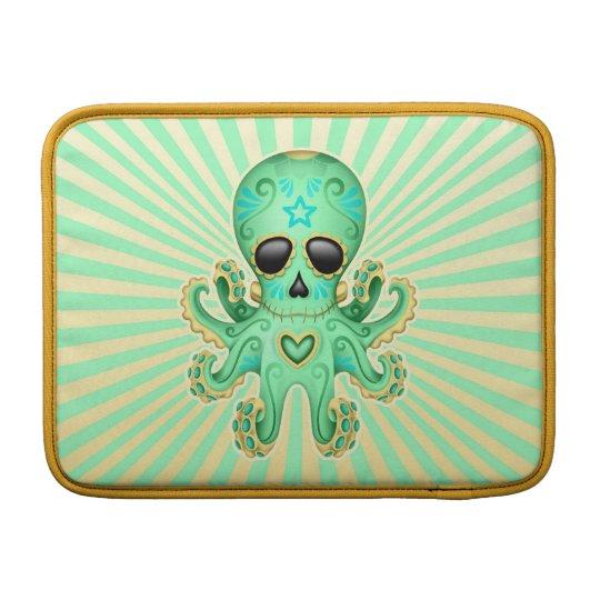 Cute Sugar Skull Zombie Octopus - Green Sleeve For MacBook Air