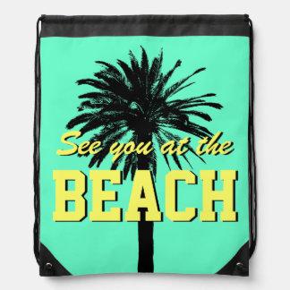 Cute summer beach bag | palm drawstring backpack