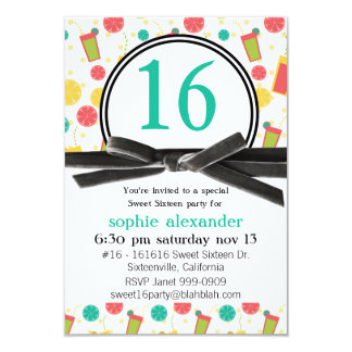 Cute Summer Citrus Drinks Sweet 16 Party 3.5x5 Paper Invitation Card