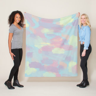 cute summer colorful pastel brushstrokes pattern fleece blanket