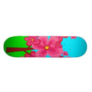 Cute Summer Fun Pink Flower Trees Lollipop Forest Skate Deck