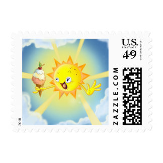 Cute Summer Sun Small Postage Stamp