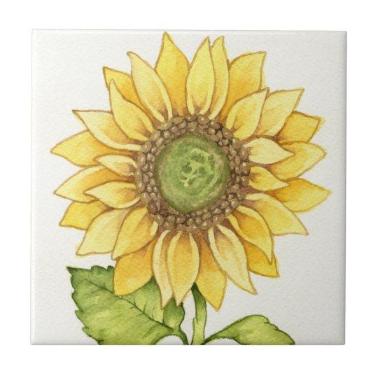Cute Summer Sunflower Happy Yellow Flower Sunny Tile