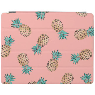 cute summer tropical faux gold pineapple pattern iPad cover