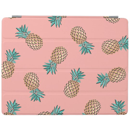 cute summer tropical faux gold pineapple pattern iPad