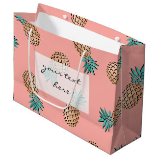 cute summer tropical faux gold pineapple pattern large gift bag