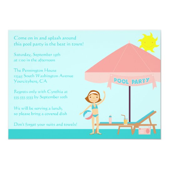 Cute summertime pool party 5x7 invitation