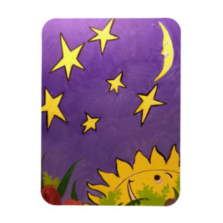 Cute Sun and Moon with Yellow Stars Flexible Rectangular Photo Magnet