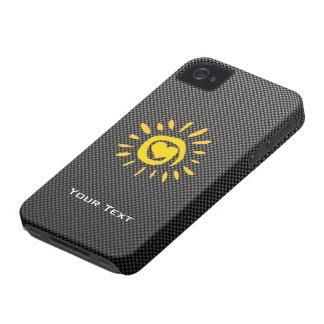 Cute Sun Faux Carbon Fiber iPhone 4 Cover