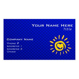 Cute Sun & Heart on Blue Pack Of Standard Business Cards