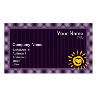 Cute Sun & Heart on Purple Plaid Pack Of Standard Business Cards