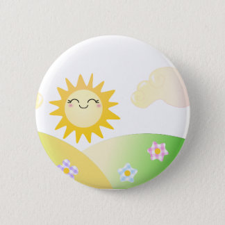 Cute sun kawaii cartoon 6 cm round badge