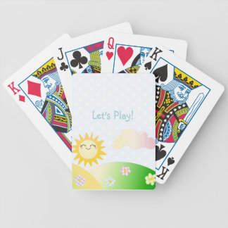 Cute sun kawaii cartoon bicycle playing cards