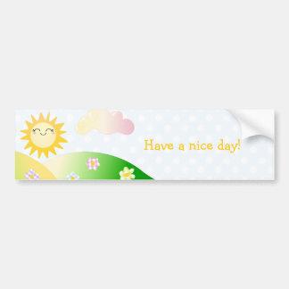 Cute sun kawaii cartoon bumper sticker