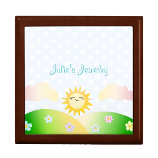 Cute sun kawaii cartoon gift box