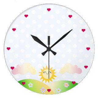Cute sun kawaii cartoon large clock