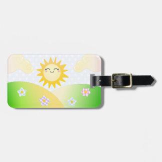 Cute sun kawaii cartoon luggage tag