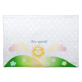 Cute sun kawaii cartoon placemat