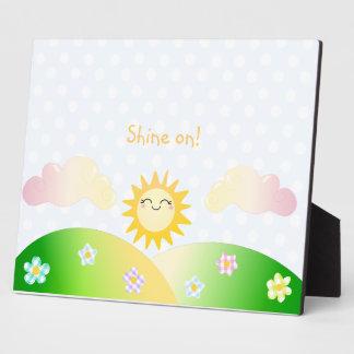 Cute sun kawaii cartoon plaque