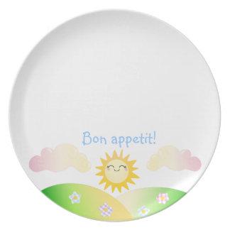 Cute sun kawaii cartoon plate